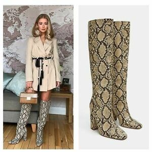 Zara Knee High Snake Boots